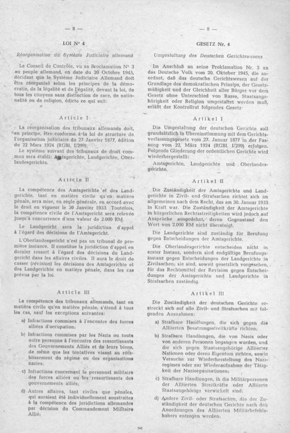 2-LAW NR.4 UMGESTALTUNG DES DEUTSCHEN GERICHTSWESENS