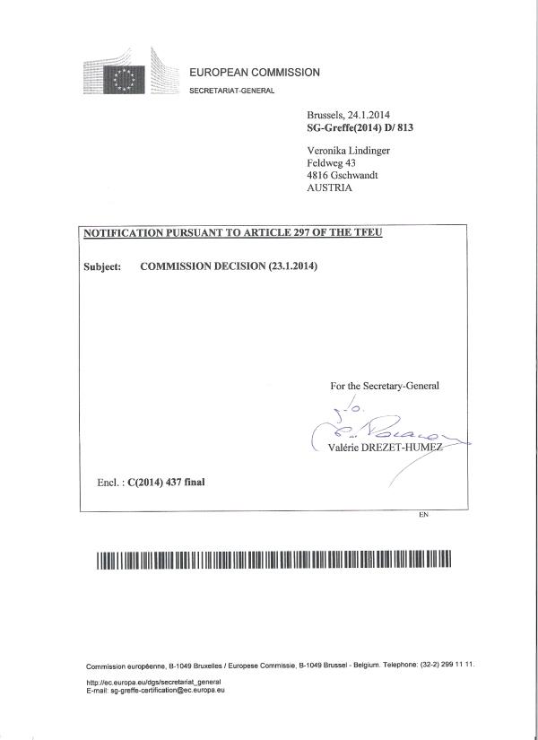 Entscheidung Europäische Kommission, Seite 1