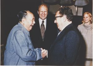 Mao Zedong u Henry Kissinger -Hintergrund US Präsident Gerald Ford