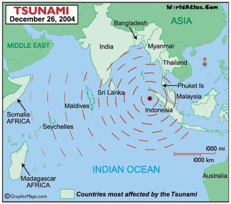 Tsunami 2004 meist betroffene Landstriche