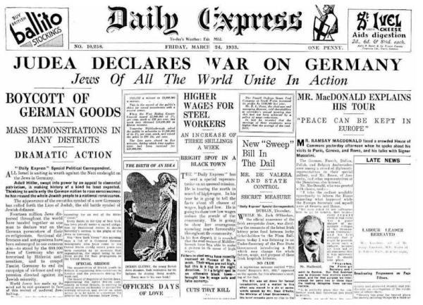 juden erklaerten 1933 Germanien den Krieg