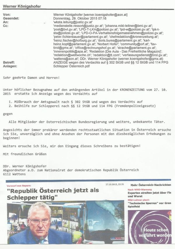 Anzeige gg. Bundesregierung - W.Koenigshofer